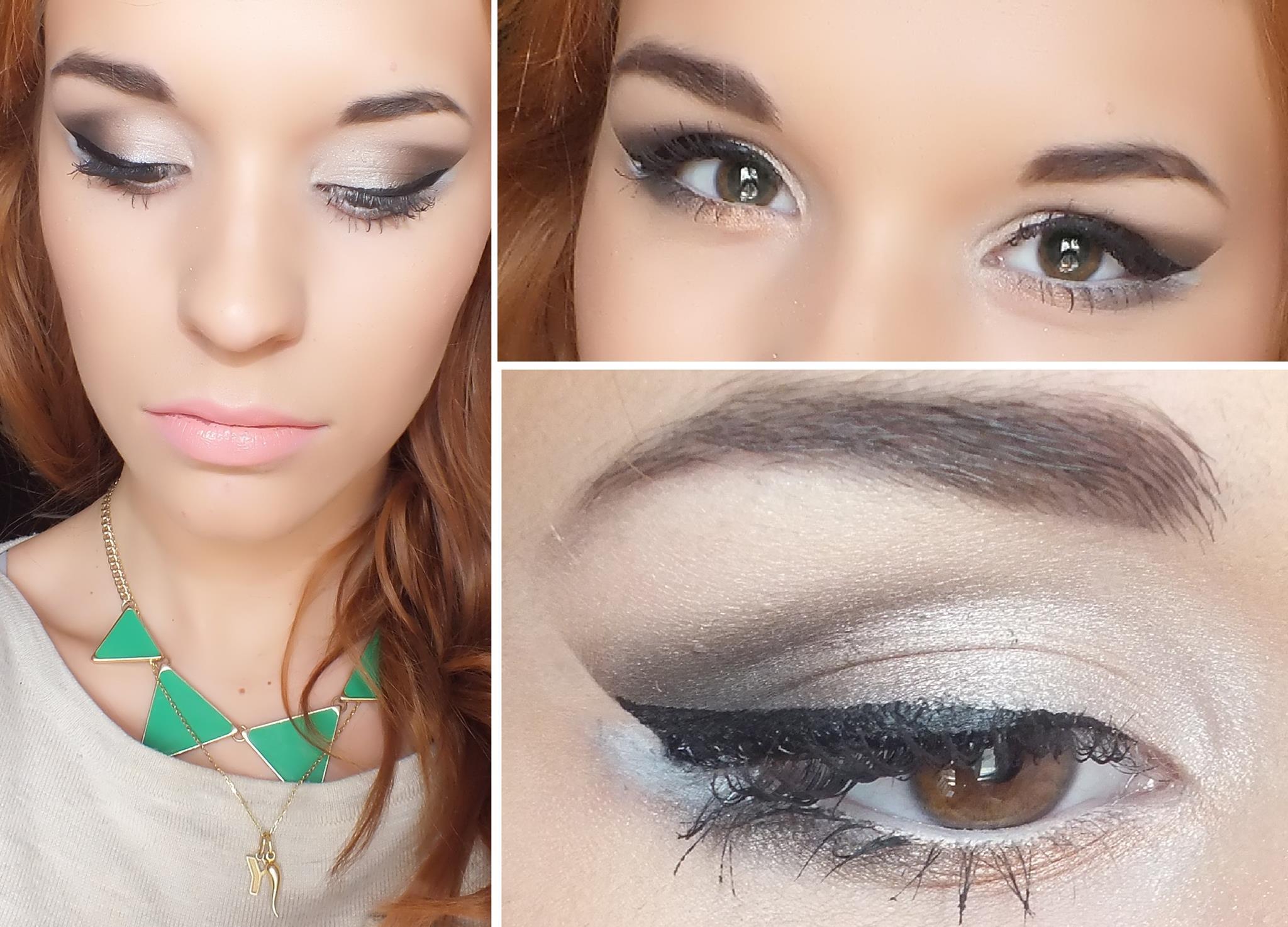 maquillage yeux gris et blanc